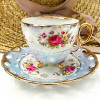 Vintage Opalescent White & Blue Footed Tea Cup & Saucer Set Bright Pink Roses