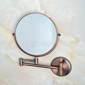 Red Copper Folding Dual Arm Extend Bathroom Mirror Wall Mounted Makeup Mirror