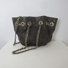 Monserat De Lucca Brown Leather Chain Shoulder Bag Hobo Crossbody