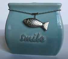 Smile Sea Blue Toothbrush Holder Ceramic Sleek Stand Modern Coastal Fish Decor