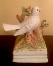 Gorham Music Box White Bird Dove on Tree Branch Bisque (Japan)