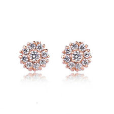 GORGEOUS 18K ROSE GOLD PLATED GENUINE CLEAR AUSTRIAN CRYSTAL STUD EARRINGS