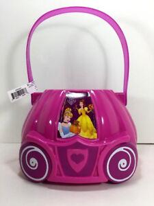 Disney PRINCESS Christmas Candy GIFT BASKET Toy Bin Bucket Belle Cinderella Pink