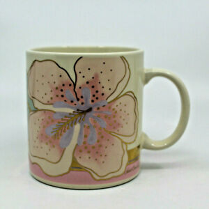 Laurel Burch Wild Hibiscus Flower Gold Pink Coffee Tea Mug Cup Made in Japan