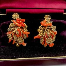 1930's Robert DeMario / Haskell SPEZZATI Branch Coral Earrings Gld Brass Flowers
