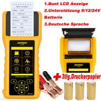 AUTOOL KFZ Starten Aufladen Auto Batterietester mit Eingebaut Drucker 12V/24V