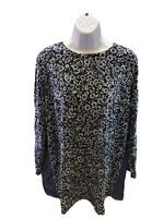 J.Jill Women's Blue Floral Button Back 3/4 Sleeve Casual Blouse Sz 1X