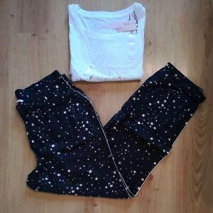 VICTORIA'S SECRET WHITE & BLACK STAR PRINT FLANNEL LOUNGE PANTS PYJAMAS M