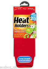 Childrens Thermal Heat Holder Socks size 9-1 Uk 27-33 Eur, 9.5-2 usa Red