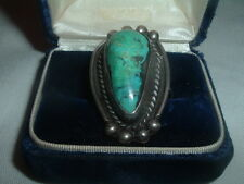Vtg Old Pawn Mens Turquoise Sterling Silver Ring Sz 9.5 15 Grams in Ring Box