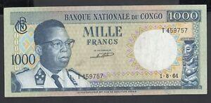 Congo Democratic 1000 Francs 1964 VF P. 8,  Banknote, Circulated