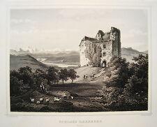 Schloss Habsburg Kanton Aargau  Schweiz seltener echter alter  Stahlstich 1844