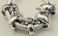5 Blue Eye Dolphin Antique Silver Charm European Jewelry 11 * 12 & 5mm Hole R121