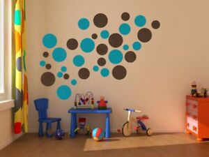 Solid Polka Dot Circle Wall Decal Kid Room Stickers Easy Peel n Stick 18pc 5-2in