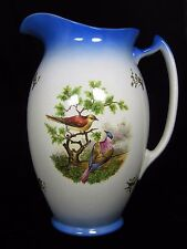 Large Victorian era Painted Pottery Water Pitcher Blue White Exotic Birds Marked