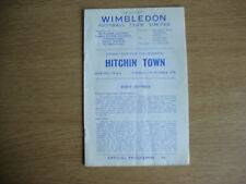 1970/1 Wimbledon v Hitchin Town - London Challenge Cup Semi Final GOOD CONDITION