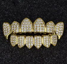 18K Gold Plated CZ Cluster Custom Slugs Top Bottom Fang GRILLZ Mouth Teeth Set