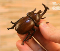 Old Antique Tea Pet Collectible Pure Solid Copper Beetle Handwork Chinese Statue