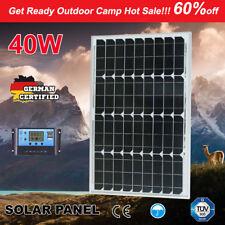 40W 12V Solar Panel Mono Kit + 20A PWM Regulator Boat Camping Battery Charging