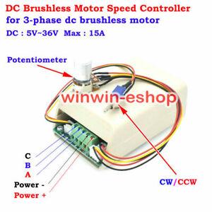 3-Phase Brushless Motor Speed Controller DC 5V 12V 24V CW CCW Reversible Switch