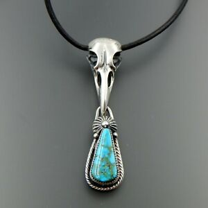 """HANDCRAFTED STERLING SILVER AMERICAN TURQUOISE RAVEN SCULL LEATHER NECKLACE 28"""""""