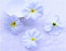 20P Hawaiian Plumeria/Frangipani Artificial cloth flower Heads-White w/Yellow