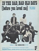 In The Bad, Bad Old Days - The Foundations - 1969 Sheet Music