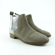 TOMS Shoes Size 5.5 Womens Ella Boots Pull-On Desert Taupe Suede Silver Metallic