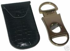 Quality Metal Single Blade Cigar Cutter with Crocodile Leather Case NEW ronson