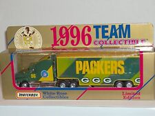 MIB 1996 Matchbox Green Bay Packers White Rose Semi Transporter Super Bowl XXXI