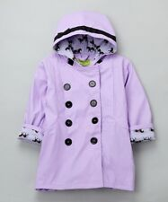 Western Chief Girl's Carousel Raincoat - Lavender with Black Horse Design