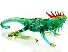 """Iguana Green, Figurine, Blown Glass """"Murano"""" Art Sculpture. Made in Russia"""