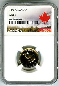 1967 CANADA 5 CENT NICKEL NGC MS64 RABBIT CENTENNIAL 1867-1967 UNCIRCULATED NICE