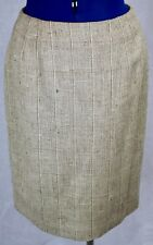 Linda Allard Ellen Tracy Beige Silk Skirt 8 Lined Straight Check Tan Tweed VTG