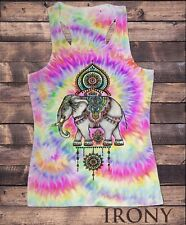 Womens Vest Top,Ethnic Indian Elephant, Tye Dye Effect Sublimation Print SUB1524