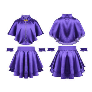 Kid Girls Cape Top+Skirt Wristband Outfit Greatest Showman Costume Party Set
