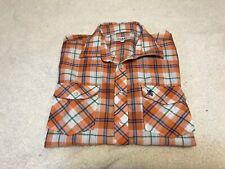 Fusai Jeans Mens Shirt Short Sleeve Button Up Plaid Size L