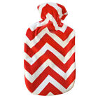 Fashy Hot Water Bottle with Scarlet Chevrons Fuzzy Cover 2L Water Bottle