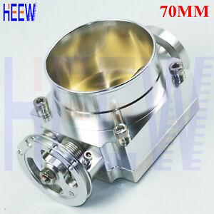 "70MM 2.75"" Throttle Body Universal High Flow Aluminum Intake Manifold Silver 1pc"