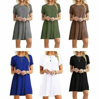 Womens Short Sleeves Midi Swing T-Shirt Dress Loose Casual Pullover Tunic Top