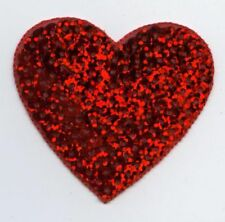 """Large 2"""" Red Sequin Heart Iron on Applique/Embroidered Patch"""