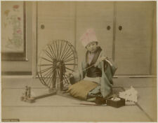 Photo Albuminé Japon Japan Spinning Whell Vers 1880