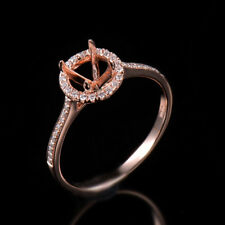 Natural Diamond Semi Mount Halo Ring Settings Round Cut 5MM Solid 14K Rose Gold
