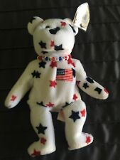 """Retired TY Beanie Baby 1998 Bear """"Glory"""" in mint condition with Glory necklace"""