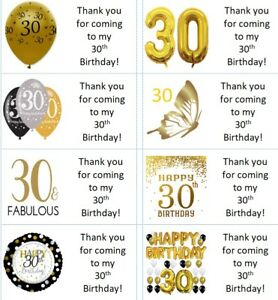 40 x Personalised 30th birthday gold labels/stickers/cake/party/sweets/bag
