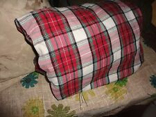 "SHEETS & CO HOLIDAY CHRISTMAS RED PLAID FLANNEL QUEEN FITTED SHEET 14"" POCKETS"