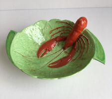 CH Vintage Carlton Ware Green Leaf Lobster Salad Serving Bowl