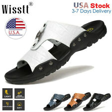 Mens Casual Leather Sandals Shoes Outdoor Anti-slip Slippers Hiking Beach 4-14.5