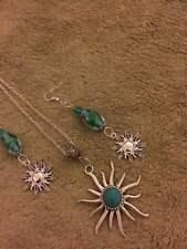 sterling silver chain tibetan turquoise sun pendant turquoise bead sun earring