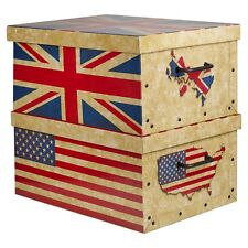2 Large Underbed Cardboard Storage Boxes With Lids Lightweight US + UK Flags